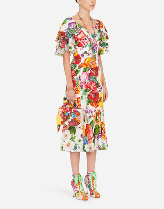 Dolce & Gabbana Short-Sleeved Charmeuse Midi Dress With Mixed Floral Print