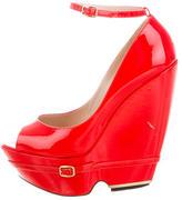 Nicholas Kirkwood Patent Leather Peep-Toe Wedges