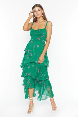 Flynn Skye Leona Tiered Midi Dress Green S