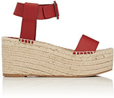 Vince WOMEN'S ABBY LEATHER ESPADRILLE WEDGE SANDALS-RED SIZE 7