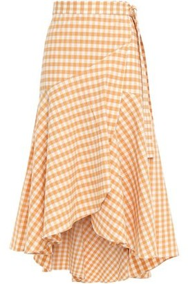 Paper London Gingham Stretch-cotton Seersucker Midi Wrap Skirt