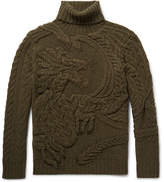 Ralph Lauren Purple Label Cable-knit Wool And Cashmere-blend Rollneck Sweater - Army green