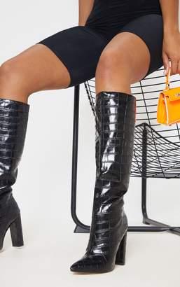 PrettyLittleThing Black Knee High Point Block Heel Boot