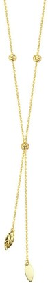 Curata Solid 14k Yellow Gold Hammered Marquise Beads Adjustable Lariat Necklace, 18""