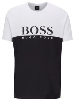 BOSS Colour-block loungewear T-shirt with large logo print