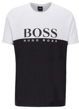 BOSS Colour-block loungewear T-shirt with large logo print