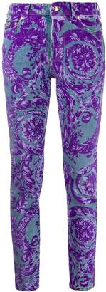 Versace floral-print mid-rise skinny jeans