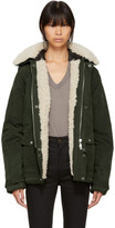 Saint Laurent Green Shearling Parka