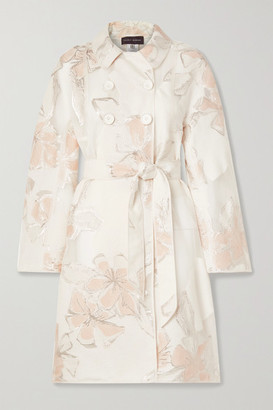 Talbot Runhof Cumarin Belted Metallic Floral-jacquard And Organza Coat - White