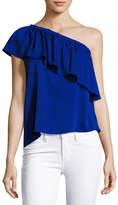 Milly Ruffled One-Shoulder Stretch-Silk Top, Cobalt