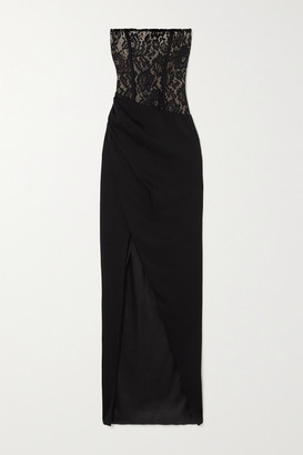 Rasario Strapless Asymmetric Gathered Lace And Crepe Gown - Black