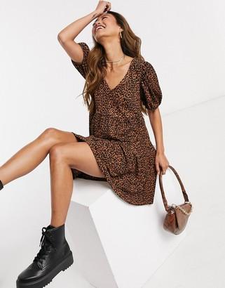 Stradivarius v-neck animal-print smock dress in brown