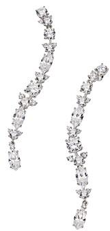 Nadri Silver-Tone Cubic Zirconia Linear Drop Earrings