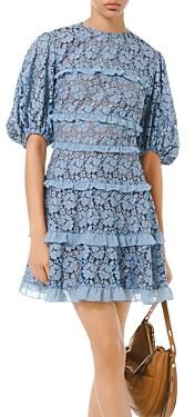 MICHAEL Michael Kors Floral-Lace Ruffled Mini Dress