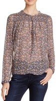 Rebecca Taylor Smocked Floral Print Silk Blouse