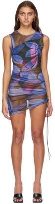 Louisa Ballou SSENSE Exclusive Blue Heatwave Ruched Dress