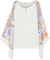 Roberto Cavalli Printed Voile-paneled Lace-up Stretch-knit Top