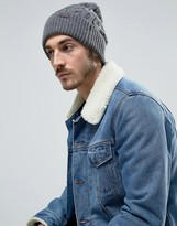 Barbour Wool Cable Knit Bobble Beanie In Grey