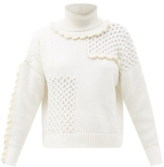 Cecilie Bahnsen Franki Ruffled Patchwork Cotton Roll-neck Sweater - Ivory