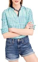 J.Crew Women's Gingham Ikat Popover Shirt