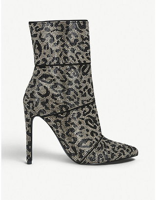 Steve Madden Winona leopard-print embellished-woven ankle boots