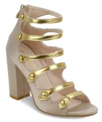 OLIVIA MILLER Northfolk Metallic Strap Chunky Heel Sandals Women's Shoes
