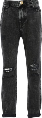 River Island Girls Grey dark washed mom jeans