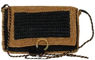 Charlotte Small Raffia Cross-Body Bag In Black & Brown