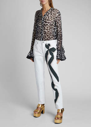 Dries Van Noten Perry Ribbon-Print Straight-Leg Jeans