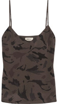 L'Agence Jane Camouflage-print Washed-silk Camisole - Dark gray