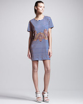 Carven Striped Belt-Print Jersey Tee Dress