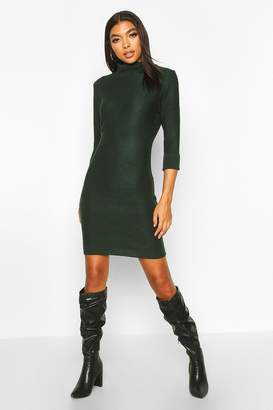 boohoo Tall Rib Knit Roll Neck Jumper Dress