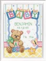 "Dimensions Baby Hugs Baby Blocks Birth Record Counted Cross Stitch Kit-5""X7"" 14 Count"