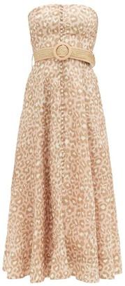 Zimmermann Carnaby Leopard-print Linen Bustier Dress - Pink Print