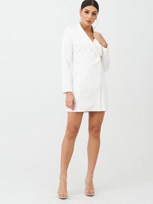 boohoo Pearl Embellished Blazer Dress - White