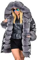 Roiii Women Winter Camouflage Thick Fur Parka Long Hooded Jacket Coat (12/14, )(Tag size:XXL)