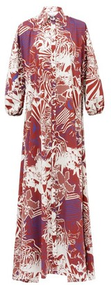 Halpern Abstract-print Cotton-poplin Maxi Shirt Dress - White Print