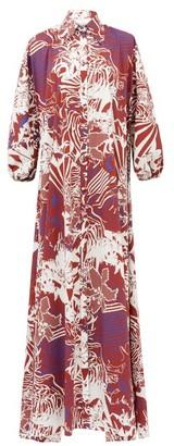 Halpern Abstract-print Cotton-poplin Maxi Shirt Dress - Womens - White Print