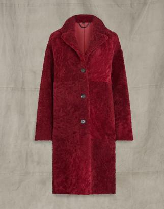 Belstaff RUBY SHEARLING COAT Red UK 8 /