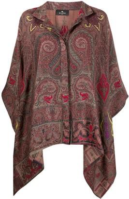 Etro Paisley Print Poncho Jacket