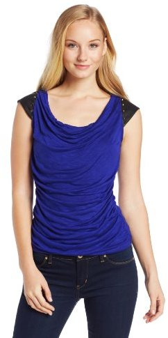 Amy Byer A. Byer Juniors Top Cowl Neck Fitted Shirr BDC At Waist