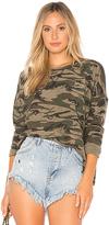 Bobi Textured Camo Sweatshirt in Green. - size M (also in S,XS)
