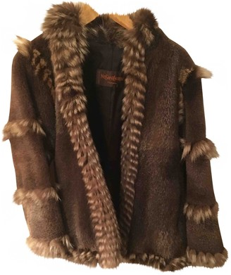 Saint Laurent Brown Rabbit Coat for Women Vintage
