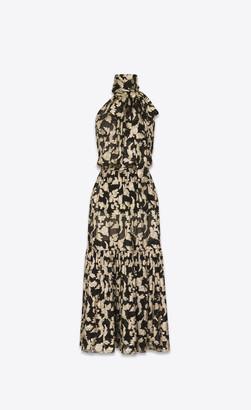 Saint Laurent Dresses Long Lavalliere Halter Dress In Floral Lame Silk Black 10