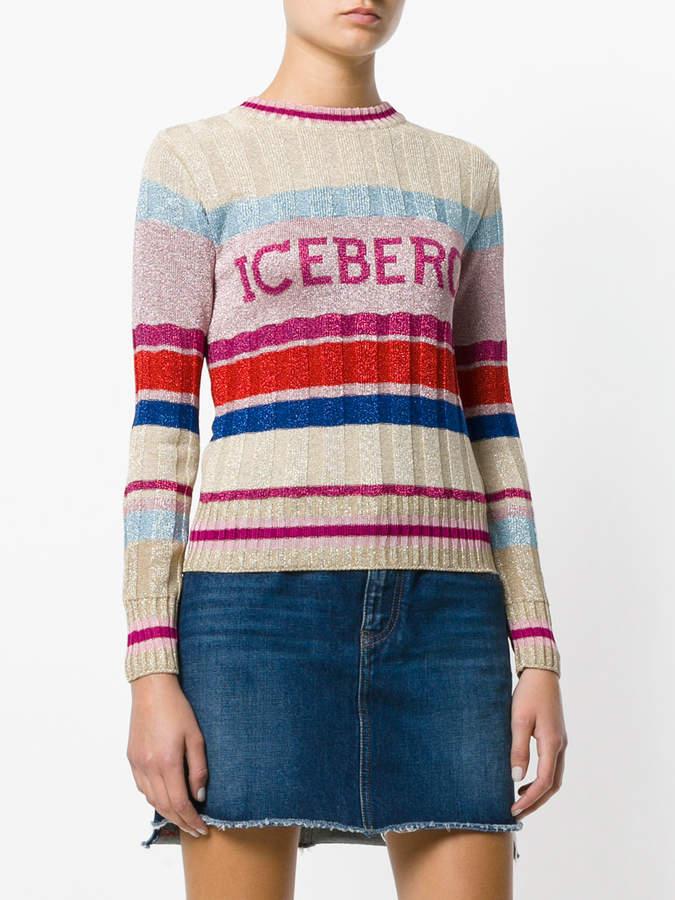 Iceberg striped logo patch sweater