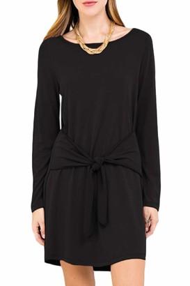 Spadehill Women Loose Fit Swing Elegant Long Sleeve Tie Front Plain Mini T Shirt Dresses Black L
