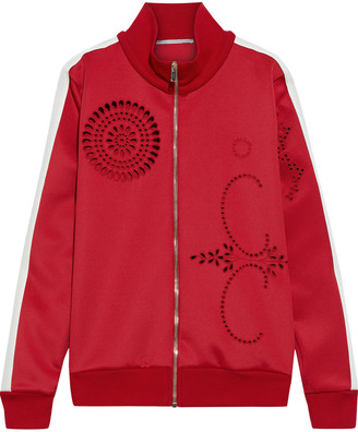 Stella McCartney Grosgrain-trimmed Broderie Anglaise Jersey Track Jacket