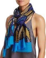 Aqua Geometric Zigzag Scarf - 100% Exclusive