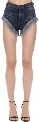 Saint Laurent Cotton Denim Shorts W/ Fringed Hem