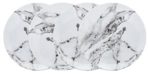 Godinger Carerra Marble Melamine Dinner Plates - Set of 4